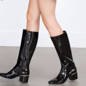 Zara patent long black boots